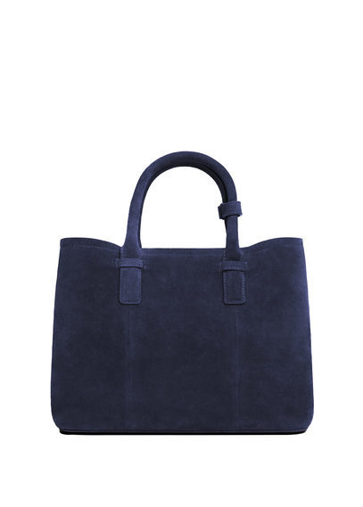 Leather Shopper Bag - predominant colour: navy; occasions: casual, creative work; type of pattern: standard; style: tote; length: handle; size: oversized; material: leather; pattern: plain; finish: plain; season: s/s 2016