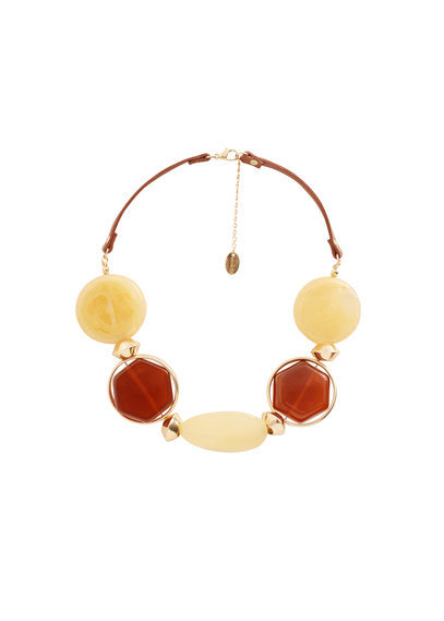 Faceted Stone Necklace - predominant colour: ivory/cream; secondary colour: terracotta; occasions: casual, holiday, creative work; length: choker; size: large/oversized; finish: plain; material: faux leather; embellishment: jewels/stone; style: bib/statement; season: s/s 2016; wardrobe: highlight