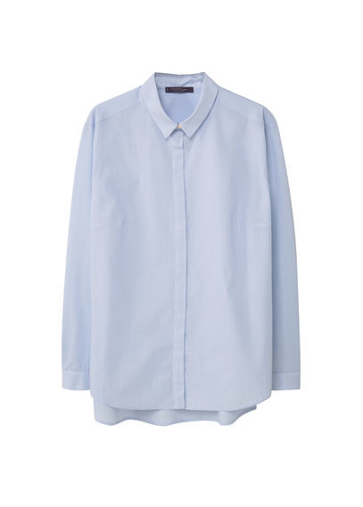 Side Slit Cotton Shirt - neckline: shirt collar/peter pan/zip with opening; pattern: striped; length: below the bottom; style: shirt; predominant colour: pale blue; occasions: casual, work, creative work; fibres: cotton - 100%; fit: loose; sleeve length: long sleeve; sleeve style: standard; texture group: cotton feel fabrics; pattern type: fabric; pattern size: light/subtle; season: s/s 2016; wardrobe: highlight