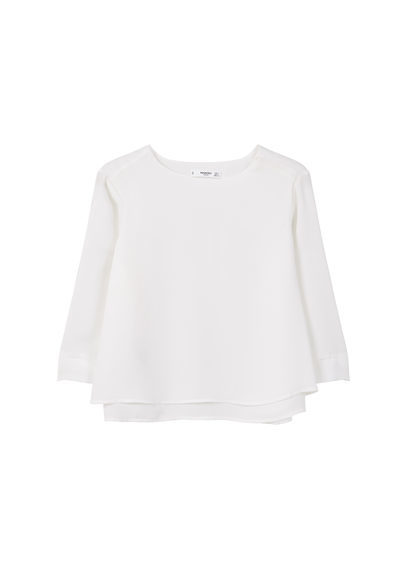 Flowy Blouse - neckline: round neck; pattern: plain; style: blouse; predominant colour: white; occasions: work, creative work; length: standard; fibres: polyester/polyamide - 100%; fit: loose; sleeve length: 3/4 length; sleeve style: standard; texture group: sheer fabrics/chiffon/organza etc.; pattern type: fabric; season: s/s 2016; wardrobe: basic