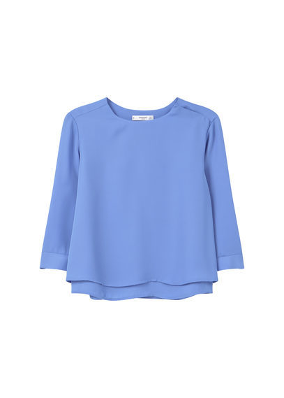 Flowy Blouse - neckline: round neck; pattern: plain; style: blouse; predominant colour: denim; occasions: work, creative work; length: standard; fibres: polyester/polyamide - 100%; fit: loose; sleeve length: 3/4 length; sleeve style: standard; texture group: sheer fabrics/chiffon/organza etc.; pattern type: fabric; season: s/s 2016