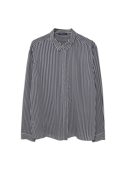 Modal Shirt - neckline: shirt collar/peter pan/zip with opening; pattern: striped; length: below the bottom; style: shirt; secondary colour: white; predominant colour: black; occasions: casual, work, creative work; fibres: polyester/polyamide - 100%; fit: loose; sleeve length: long sleeve; sleeve style: standard; texture group: cotton feel fabrics; pattern type: fabric; pattern size: big & busy (top); season: s/s 2016; wardrobe: highlight