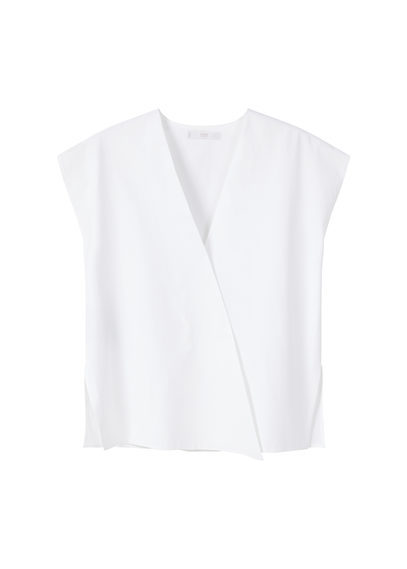 Croosover Poplin Blouse - neckline: v-neck; pattern: plain; sleeve style: sleeveless; length: cropped; style: wrap/faux wrap; predominant colour: white; occasions: evening; fibres: polyester/polyamide - 100%; fit: body skimming; sleeve length: sleeveless; texture group: sheer fabrics/chiffon/organza etc.; pattern type: fabric; season: s/s 2016
