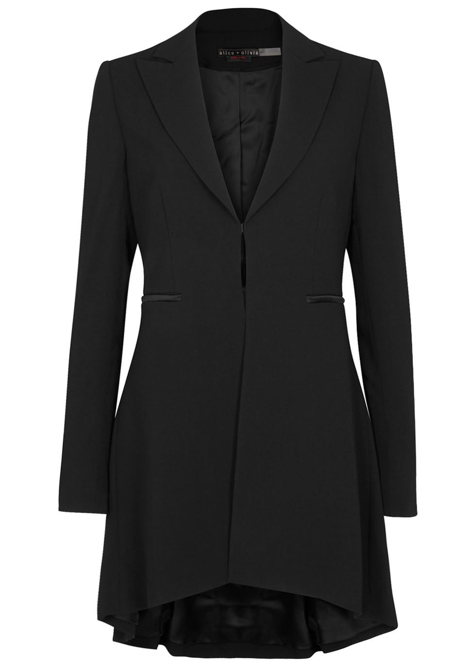 Jordyn Black Pleat Back Blazer - pattern: plain; style: single breasted blazer; collar: standard lapel/rever collar; predominant colour: black; occasions: evening, occasion, creative work; fit: tailored/fitted; fibres: polyester/polyamide - 100%; length: mid thigh; sleeve length: long sleeve; sleeve style: standard; texture group: crepes; collar break: medium; pattern type: fabric; season: s/s 2016; wardrobe: investment