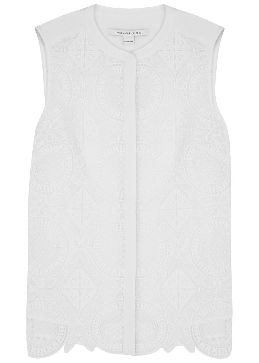 Lakyn White Crochet Panelled Top - pattern: plain; sleeve style: sleeveless; predominant colour: white; occasions: casual; length: standard; style: top; neckline: collarstand; fibres: polyester/polyamide - 100%; fit: body skimming; sleeve length: sleeveless; pattern type: fabric; texture group: other - light to midweight; season: s/s 2016; wardrobe: basic