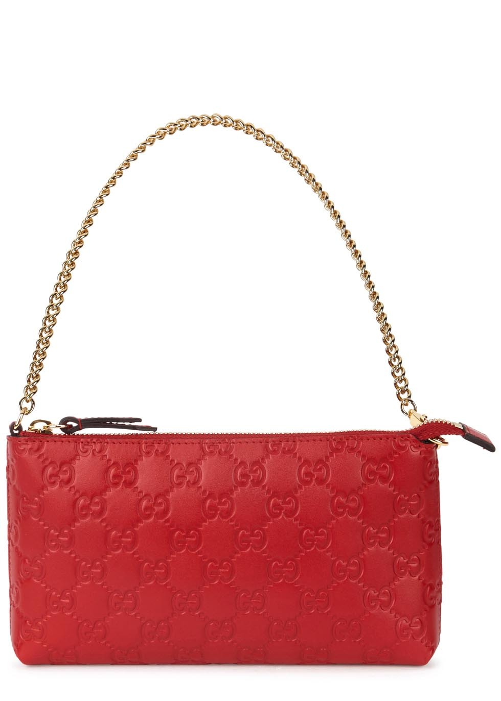 Linea A Gg Red Leather Clutch - predominant colour: true red; occasions: evening, occasion; type of pattern: standard; style: clutch; length: hand carry; size: standard; material: leather; finish: plain; pattern: patterned/print; embellishment: chain/metal; season: s/s 2016; wardrobe: event
