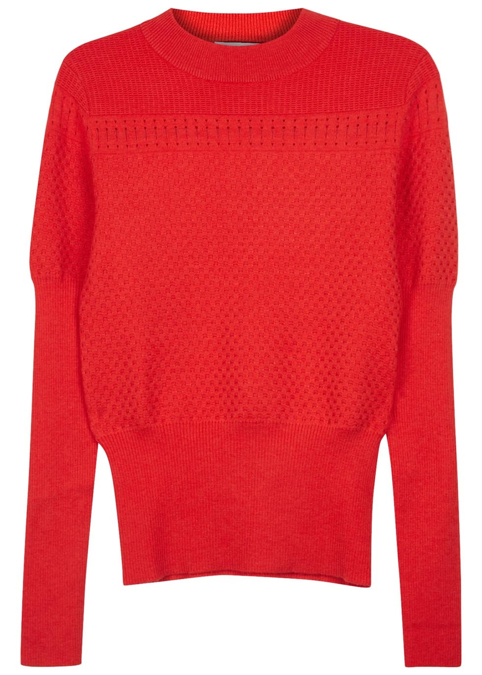 Red Textured Knit Wool Blend Jumper - neckline: round neck; pattern: plain; style: standard; sleeve style: leg o mutton; predominant colour: true red; occasions: casual, creative work, activity; length: standard; fibres: wool - mix; fit: standard fit; sleeve length: long sleeve; texture group: knits/crochet; pattern type: knitted - fine stitch; season: s/s 2016