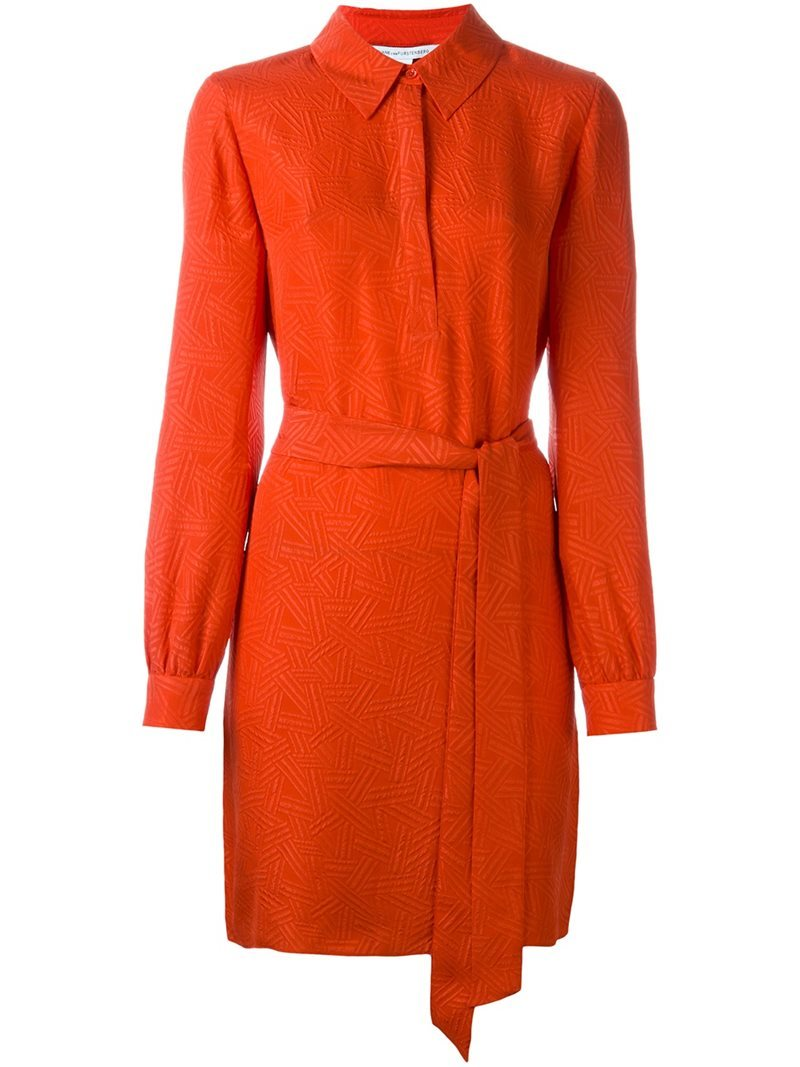 Buttoned Neck Belted Dress, Women's, Yellow/Orange - style: shirt; neckline: shirt collar/peter pan/zip with opening; pattern: plain; waist detail: belted waist/tie at waist/drawstring; predominant colour: bright orange; occasions: evening; length: just above the knee; fit: body skimming; fibres: silk - 100%; sleeve length: long sleeve; sleeve style: standard; pattern type: fabric; texture group: other - light to midweight; season: s/s 2016; wardrobe: event