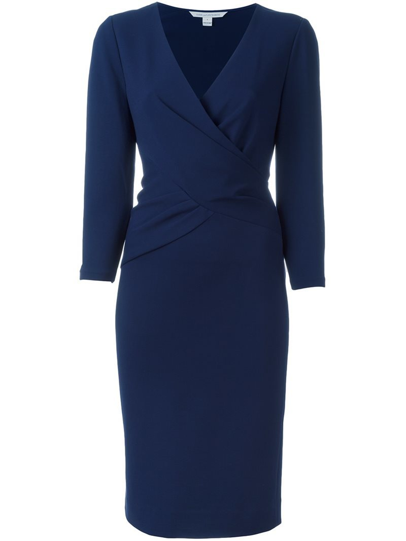 Waist Wrap V Neck Dress, Women's, Blue - style: faux wrap/wrap; neckline: v-neck; pattern: plain; predominant colour: navy; occasions: evening; length: just above the knee; fit: body skimming; fibres: viscose/rayon - stretch; sleeve length: long sleeve; sleeve style: standard; pattern type: fabric; texture group: jersey - stretchy/drapey; season: s/s 2016; wardrobe: event