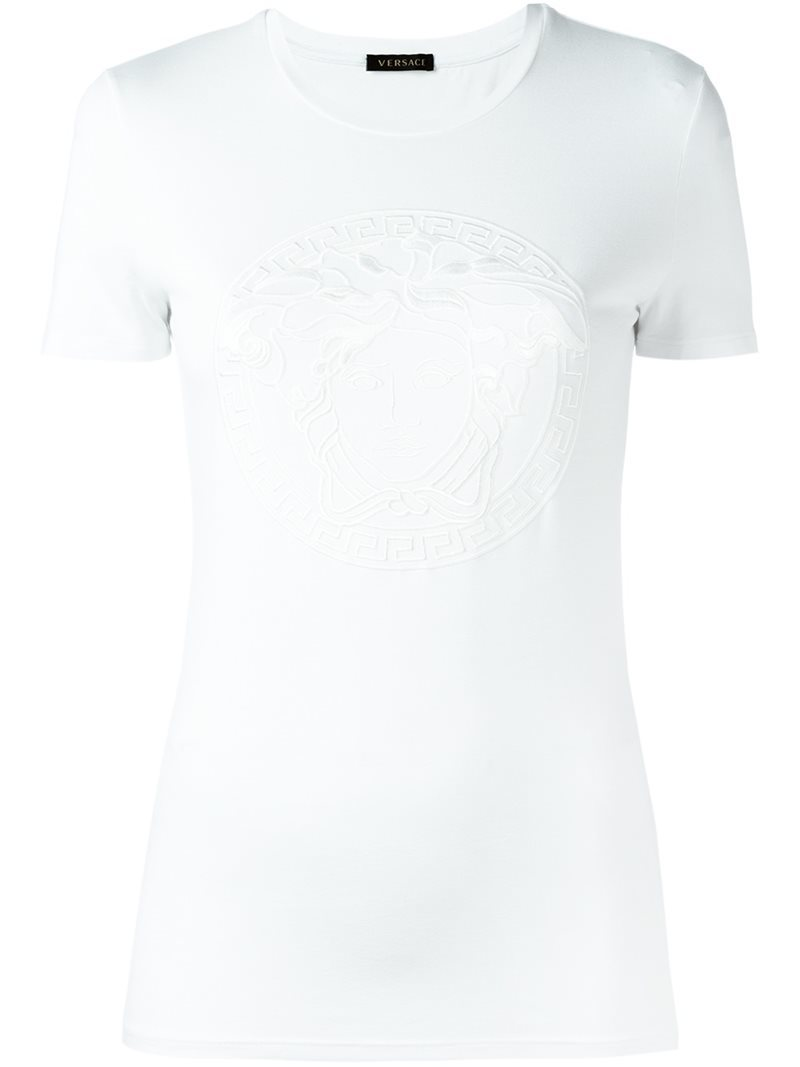 Medusa Head T Shirt, Women's, White - pattern: plain; style: t-shirt; predominant colour: white; occasions: casual; length: standard; fibres: viscose/rayon - stretch; fit: body skimming; neckline: crew; sleeve length: short sleeve; sleeve style: standard; pattern type: fabric; texture group: jersey - stretchy/drapey; season: s/s 2016; wardrobe: basic