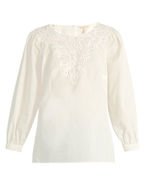 Macramé Lace Panelled Cotton Top - pattern: plain; predominant colour: white; occasions: casual; length: standard; style: top; fibres: cotton - 100%; fit: body skimming; neckline: crew; sleeve length: 3/4 length; sleeve style: standard; texture group: cotton feel fabrics; pattern type: fabric; embellishment: lace; season: s/s 2016; wardrobe: highlight; trends: statement sleeves
