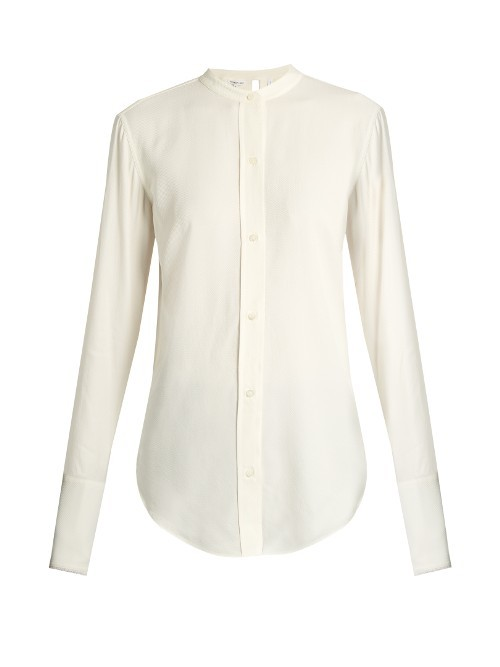Back Knot Raw Edge Blouse - pattern: plain; length: below the bottom; style: blouse; predominant colour: ivory/cream; occasions: casual, work, creative work; neckline: collarstand; fibres: silk - 100%; fit: body skimming; sleeve length: long sleeve; sleeve style: standard; pattern type: fabric; texture group: other - light to midweight; season: s/s 2016; wardrobe: basic
