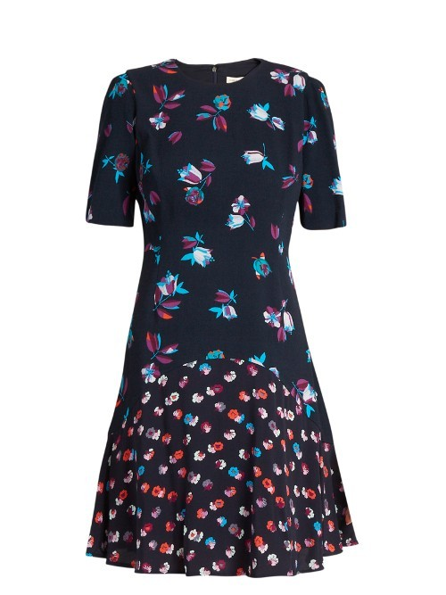 Floral Print Fluted Crepe Dress - secondary colour: pale blue; predominant colour: navy; occasions: evening; length: just above the knee; fit: fitted at waist & bust; style: fit & flare; neckline: crew; sleeve length: half sleeve; sleeve style: standard; texture group: crepes; pattern type: fabric; pattern: florals; fibres: viscose/rayon - mix; season: s/s 2016; wardrobe: event