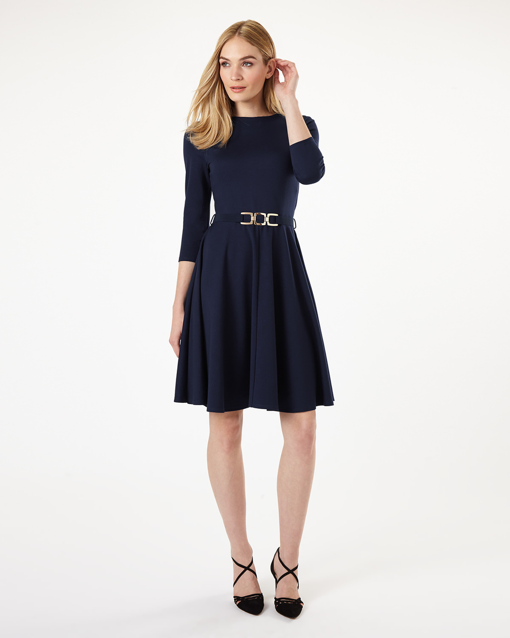 Belted Ponte Swing Dress - pattern: plain; waist detail: belted waist/tie at waist/drawstring; predominant colour: black; occasions: evening; length: just above the knee; fit: fitted at waist & bust; style: fit & flare; fibres: viscose/rayon - stretch; neckline: crew; sleeve length: 3/4 length; sleeve style: standard; pattern type: fabric; texture group: jersey - stretchy/drapey; season: s/s 2016; wardrobe: event