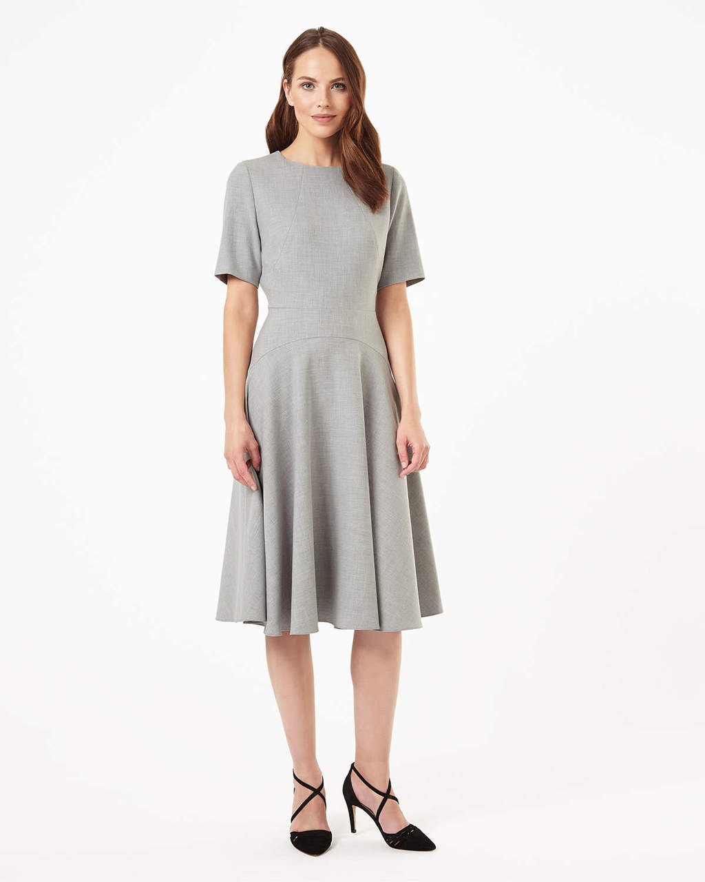 Leoni Midi Fit And Flare Dress - length: below the knee; pattern: plain; predominant colour: light grey; occasions: casual; fit: fitted at waist & bust; style: fit & flare; fibres: polyester/polyamide - stretch; neckline: crew; sleeve length: short sleeve; sleeve style: standard; pattern type: fabric; texture group: jersey - stretchy/drapey; season: s/s 2016; wardrobe: basic