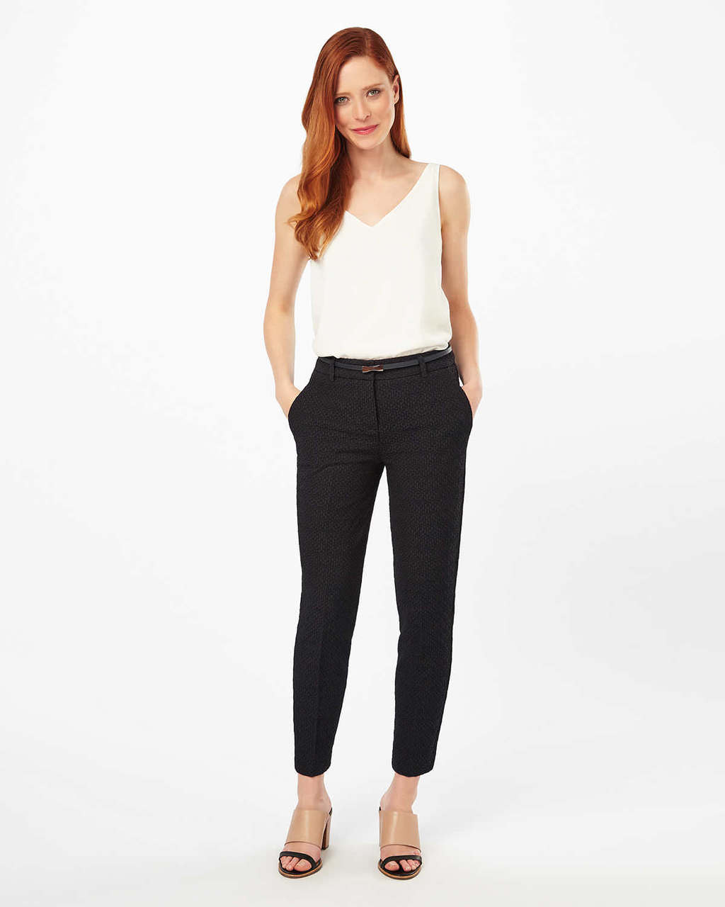 Alice Jacquard Belted Trousers - pattern: plain; waist: mid/regular rise; predominant colour: black; occasions: work, creative work; length: ankle length; fibres: cotton - 100%; fit: slim leg; pattern type: fabric; texture group: brocade/jacquard; style: standard; season: s/s 2016; wardrobe: basic