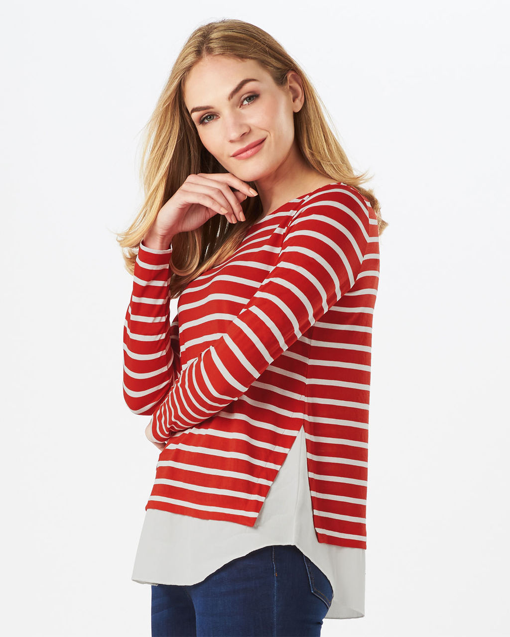 Wilton Stripe Top - neckline: round neck; pattern: horizontal stripes; secondary colour: white; predominant colour: terracotta; occasions: casual, creative work; length: standard; style: top; fibres: cotton - stretch; fit: body skimming; sleeve length: long sleeve; sleeve style: standard; pattern type: fabric; texture group: jersey - stretchy/drapey; pattern size: big & busy (top); season: s/s 2016; wardrobe: highlight