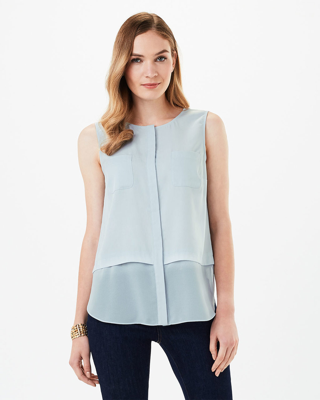 Megan Woven Mix Sleeveless Top - neckline: round neck; pattern: plain; sleeve style: sleeveless; predominant colour: pale blue; occasions: casual, work, creative work; length: standard; style: top; fibres: polyester/polyamide - 100%; fit: body skimming; sleeve length: sleeveless; texture group: sheer fabrics/chiffon/organza etc.; pattern type: fabric; season: s/s 2016