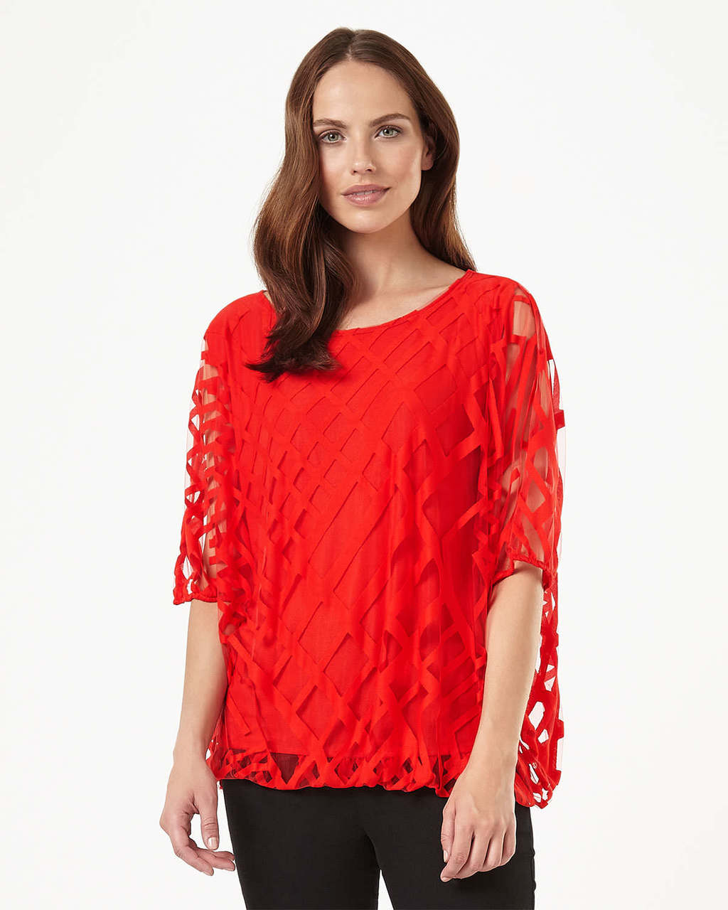 Eve Geo Burnout Top - neckline: round neck; pattern: plain; predominant colour: bright orange; occasions: evening; length: standard; style: top; fibres: polyester/polyamide - 100%; fit: loose; sleeve length: short sleeve; sleeve style: standard; texture group: sheer fabrics/chiffon/organza etc.; pattern type: fabric; embellishment: lace; season: s/s 2016; wardrobe: event