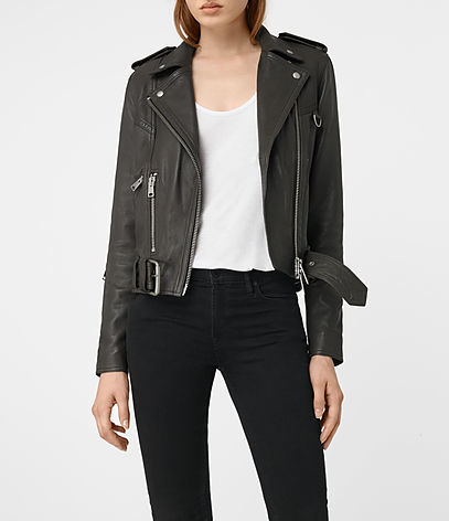 Gidley Leather Biker Jacket - pattern: plain; style: biker; collar: asymmetric biker; fit: slim fit; predominant colour: black; occasions: casual; length: standard; fibres: leather - 100%; sleeve length: long sleeve; sleeve style: standard; texture group: leather; collar break: medium; pattern type: fabric; season: s/s 2016; wardrobe: basic