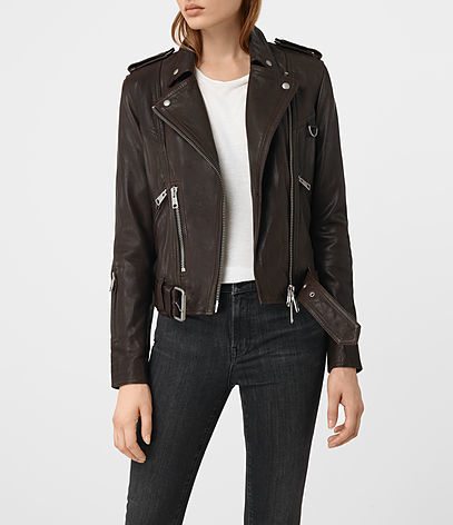 Gidley Leather Biker Jacket - pattern: plain; style: biker; collar: asymmetric biker; fit: slim fit; predominant colour: chocolate brown; occasions: casual; length: standard; fibres: leather - 100%; sleeve length: long sleeve; sleeve style: standard; texture group: leather; collar break: medium; pattern type: fabric; season: s/s 2016; wardrobe: basic