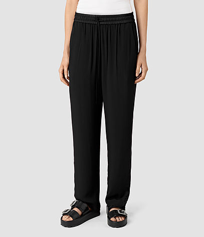 Thula Trousers - length: standard; pattern: plain; waist: mid/regular rise; predominant colour: black; occasions: casual; fibres: viscose/rayon - 100%; fit: wide leg; pattern type: fabric; texture group: jersey - stretchy/drapey; style: standard; season: s/s 2016