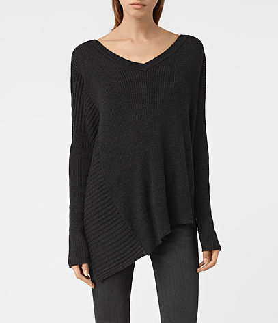 Keld V Neck Jumper - neckline: v-neck; pattern: plain; length: below the bottom; style: standard; predominant colour: black; occasions: casual; fibres: wool - 100%; fit: slim fit; sleeve length: long sleeve; sleeve style: standard; texture group: knits/crochet; pattern type: knitted - fine stitch; season: s/s 2016; wardrobe: basic
