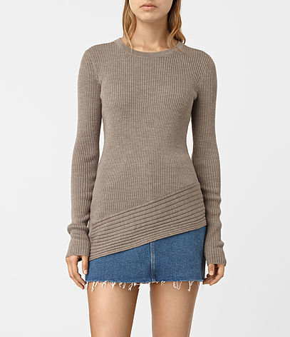 Keld Crew Neck Jumper - pattern: plain; style: standard; predominant colour: mid grey; occasions: casual; length: standard; fibres: wool - 100%; fit: slim fit; neckline: crew; sleeve length: long sleeve; sleeve style: standard; texture group: knits/crochet; pattern type: fabric; season: s/s 2016; wardrobe: basic
