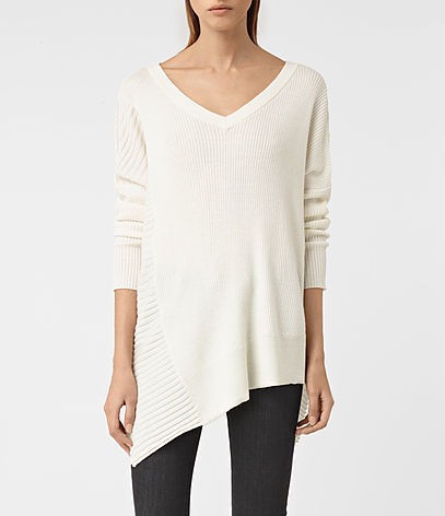 Keld V Neck Jumper - neckline: v-neck; pattern: plain; length: below the bottom; style: standard; predominant colour: white; occasions: casual; fibres: wool - 100%; fit: standard fit; sleeve length: long sleeve; sleeve style: standard; texture group: knits/crochet; pattern type: fabric; season: s/s 2016; wardrobe: basic
