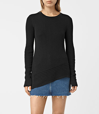 Keld Crew Neck Jumper - pattern: plain; predominant colour: black; occasions: casual; length: standard; style: top; fibres: wool - 100%; fit: body skimming; neckline: crew; sleeve length: long sleeve; sleeve style: standard; texture group: knits/crochet; pattern type: fabric; season: s/s 2016; wardrobe: basic