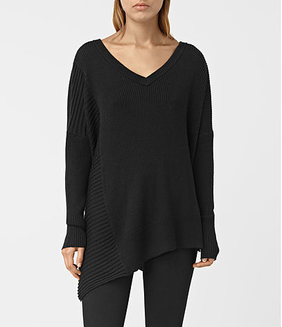 Keld V Neck Jumper - neckline: v-neck; pattern: plain; style: standard; predominant colour: black; occasions: casual; length: standard; fibres: wool - 100%; fit: standard fit; sleeve length: long sleeve; sleeve style: standard; texture group: knits/crochet; pattern type: fabric; season: s/s 2016; wardrobe: basic