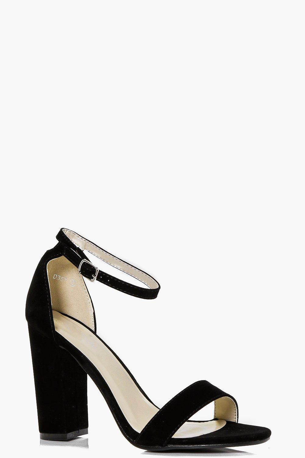 Peeptoe Block Heel Black - predominant colour: black; occasions: evening; material: suede; heel height: high; ankle detail: ankle strap; heel: block; toe: open toe/peeptoe; style: standard; finish: plain; pattern: plain; season: s/s 2016; wardrobe: event