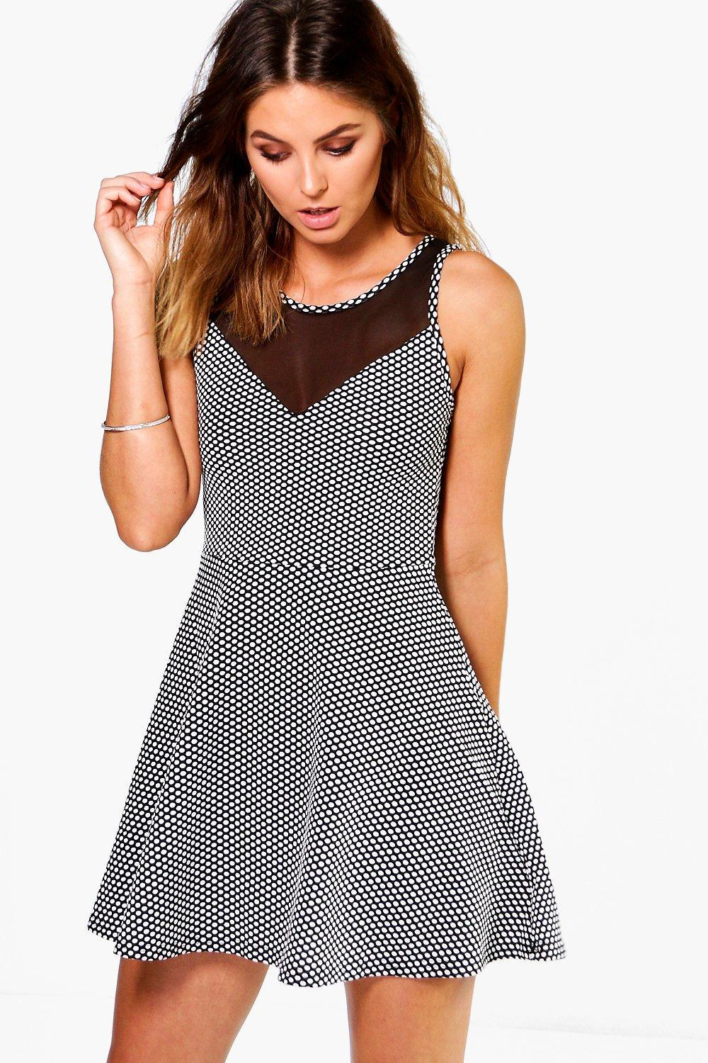 Mesh Panel Skater Dress Multi - length: mini; neckline: round neck; sleeve style: sleeveless; bust detail: sheer at bust; pattern: polka dot; secondary colour: white; predominant colour: navy; occasions: evening; fit: fitted at waist & bust; style: fit & flare; fibres: polyester/polyamide - stretch; sleeve length: sleeveless; pattern type: fabric; texture group: jersey - stretchy/drapey; multicoloured: multicoloured; season: s/s 2016; wardrobe: event