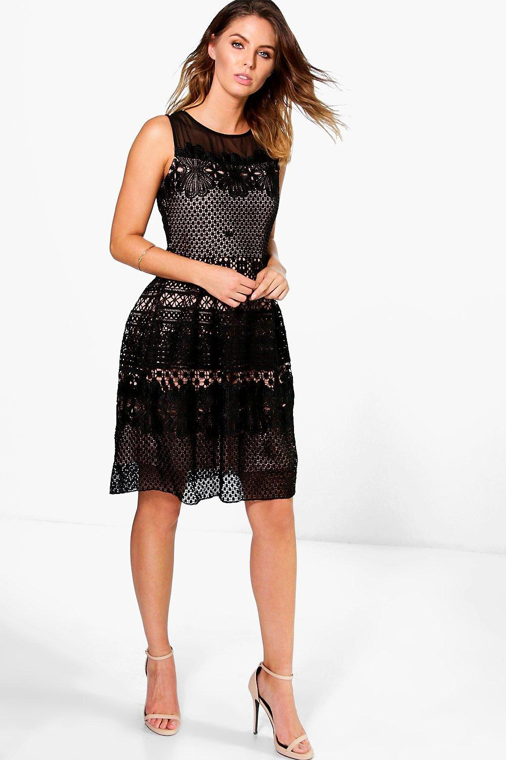 Ashlee Crochet Underlay Dress Black - sleeve style: sleeveless; secondary colour: ivory/cream; predominant colour: black; occasions: evening; length: on the knee; fit: fitted at waist & bust; style: fit & flare; fibres: polyester/polyamide - 100%; neckline: crew; sleeve length: sleeveless; texture group: knits/crochet; pattern type: fabric; pattern size: standard; pattern: patterned/print; season: s/s 2016; wardrobe: event