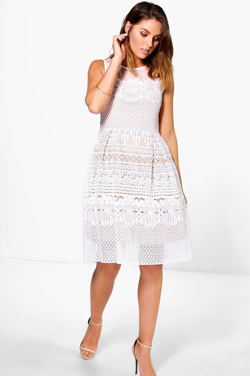 Ashlee Crochet Underlay Dress White - sleeve style: sleeveless; predominant colour: white; occasions: evening; length: on the knee; fit: fitted at waist & bust; style: fit & flare; fibres: polyester/polyamide - 100%; neckline: crew; sleeve length: sleeveless; texture group: knits/crochet; pattern type: fabric; pattern size: standard; pattern: patterned/print; season: s/s 2016; wardrobe: event
