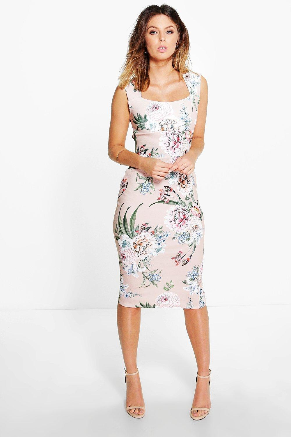 Floral Print Sweatheart Midi Bodycon Dress Blush - length: below the knee; fit: tight; sleeve style: sleeveless; style: bodycon; predominant colour: blush; secondary colour: mid grey; occasions: evening; neckline: scoop; fibres: polyester/polyamide - stretch; sleeve length: sleeveless; texture group: jersey - clingy; pattern type: fabric; pattern size: big & busy; pattern: florals; multicoloured: multicoloured; season: s/s 2016; wardrobe: event