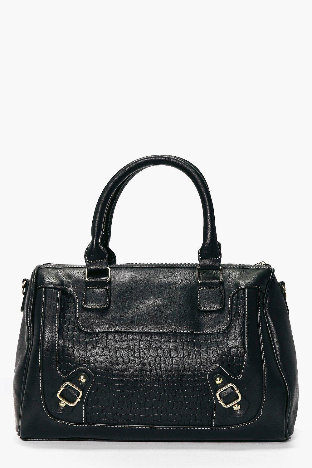 Structured Mock Croc Bowler Day Bag Black - predominant colour: black; occasions: casual, work, creative work; type of pattern: standard; style: bowling; length: handle; size: standard; material: faux leather; pattern: animal print; finish: plain; season: s/s 2016; wardrobe: highlight