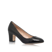 April - predominant colour: black; occasions: evening; material: leather; heel height: mid; heel: block; toe: pointed toe; style: courts; finish: plain; pattern: plain; season: s/s 2016; wardrobe: event