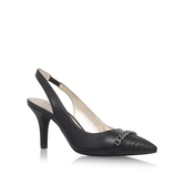 Yavari - predominant colour: black; occasions: casual, evening, occasion; material: faux leather; heel height: high; heel: stiletto; toe: pointed toe; style: slingbacks; finish: plain; pattern: plain; season: s/s 2016; wardrobe: investment
