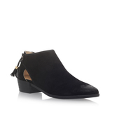 Jennings Flat Bootie - predominant colour: black; occasions: casual, creative work; material: suede; heel height: mid; embellishment: tassels; heel: block; toe: pointed toe; boot length: ankle boot; style: standard; finish: plain; pattern: plain; season: s/s 2016; wardrobe: basic