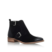 Adams Monk Strap Bootie - predominant colour: black; occasions: casual; material: suede; heel height: mid; embellishment: buckles; heel: block; toe: round toe; boot length: ankle boot; style: standard; finish: plain; pattern: plain; season: s/s 2016