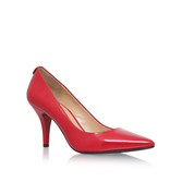 Mk Flex Mid Pump - predominant colour: true red; occasions: evening; material: leather; heel height: high; heel: stiletto; toe: pointed toe; style: courts; finish: patent; pattern: plain; season: s/s 2016; wardrobe: event