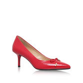 Nancy Mid Pump - predominant colour: true red; occasions: evening; material: leather; heel height: high; heel: stiletto; toe: pointed toe; style: courts; finish: plain; pattern: plain; embellishment: bow; season: s/s 2016; wardrobe: event