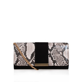 Talia - predominant colour: light grey; occasions: evening; type of pattern: standard; style: clutch; length: shoulder (tucks under arm); size: standard; material: leather; pattern: animal print; finish: plain; multicoloured: multicoloured; season: s/s 2016