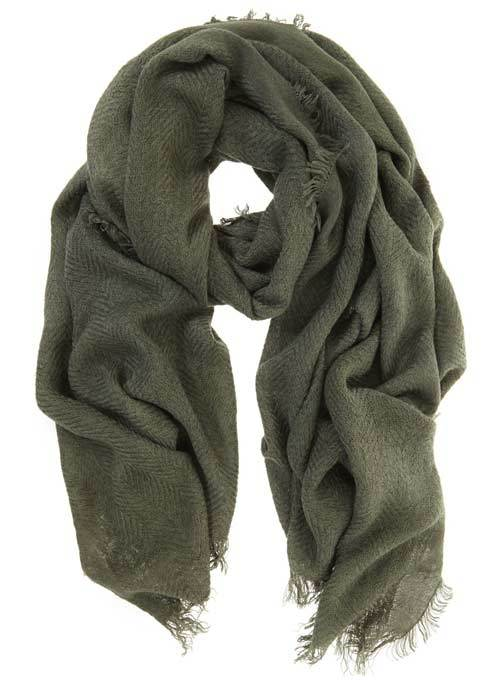 Khaki Textured Scarf - predominant colour: khaki; occasions: casual; type of pattern: heavy; style: regular; size: standard; material: fabric; pattern: plain; season: s/s 2016