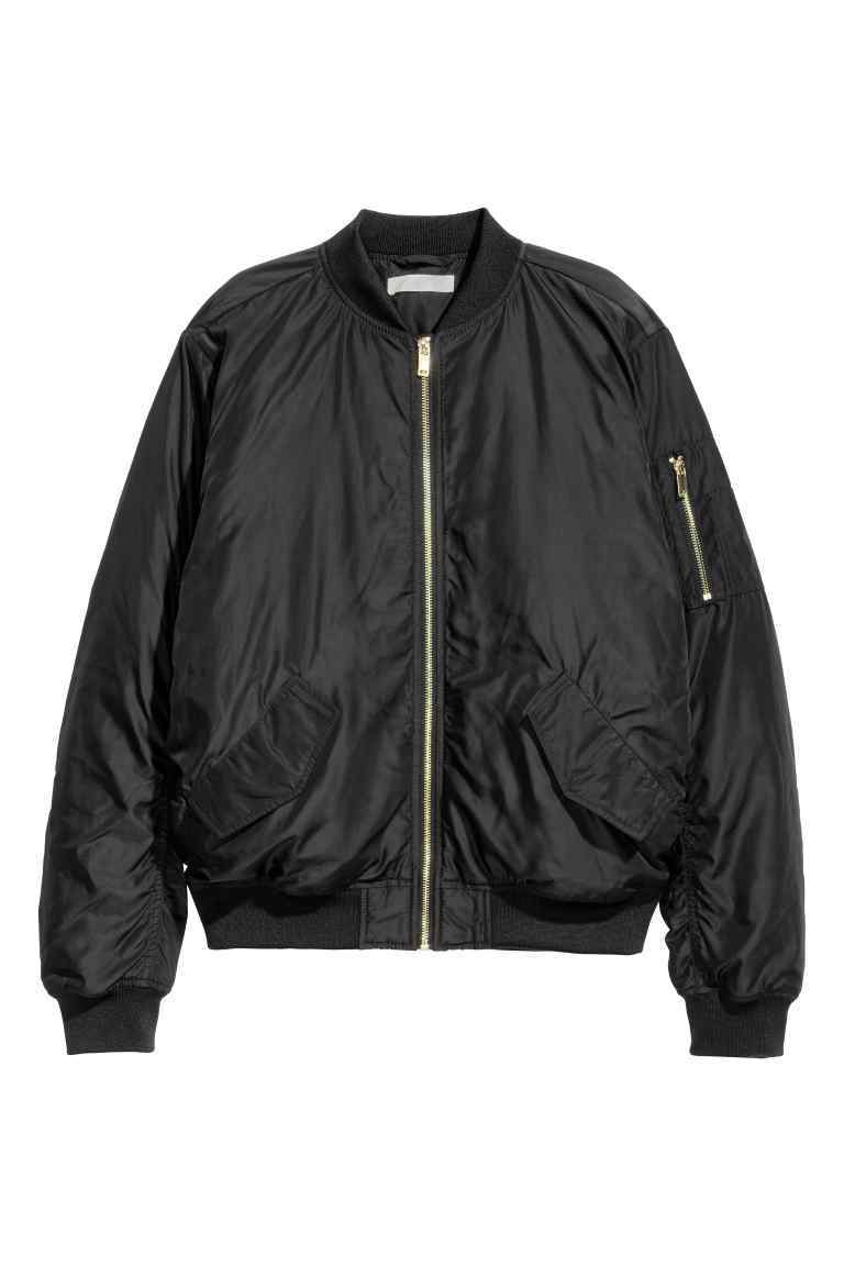 Bomber Jacket - pattern: plain; collar: round collar/collarless; style: bomber; predominant colour: black; occasions: casual; length: standard; fit: straight cut (boxy); fibres: polyester/polyamide - 100%; sleeve length: long sleeve; sleeve style: standard; texture group: structured shiny - satin/tafetta/silk etc.; collar break: high; pattern type: fabric; season: s/s 2016; wardrobe: basic