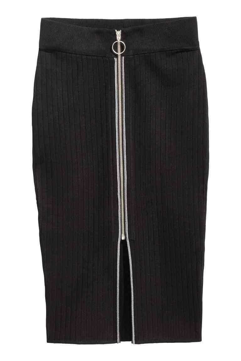 Pencil Skirt With A Zip - pattern: plain; style: pencil; fit: tailored/fitted; waist: mid/regular rise; predominant colour: black; secondary colour: black; length: on the knee; fibres: polyester/polyamide - 100%; pattern type: fabric; texture group: woven light midweight; occasions: creative work; embellishment: zips; season: s/s 2016; wardrobe: highlight; embellishment location: waist