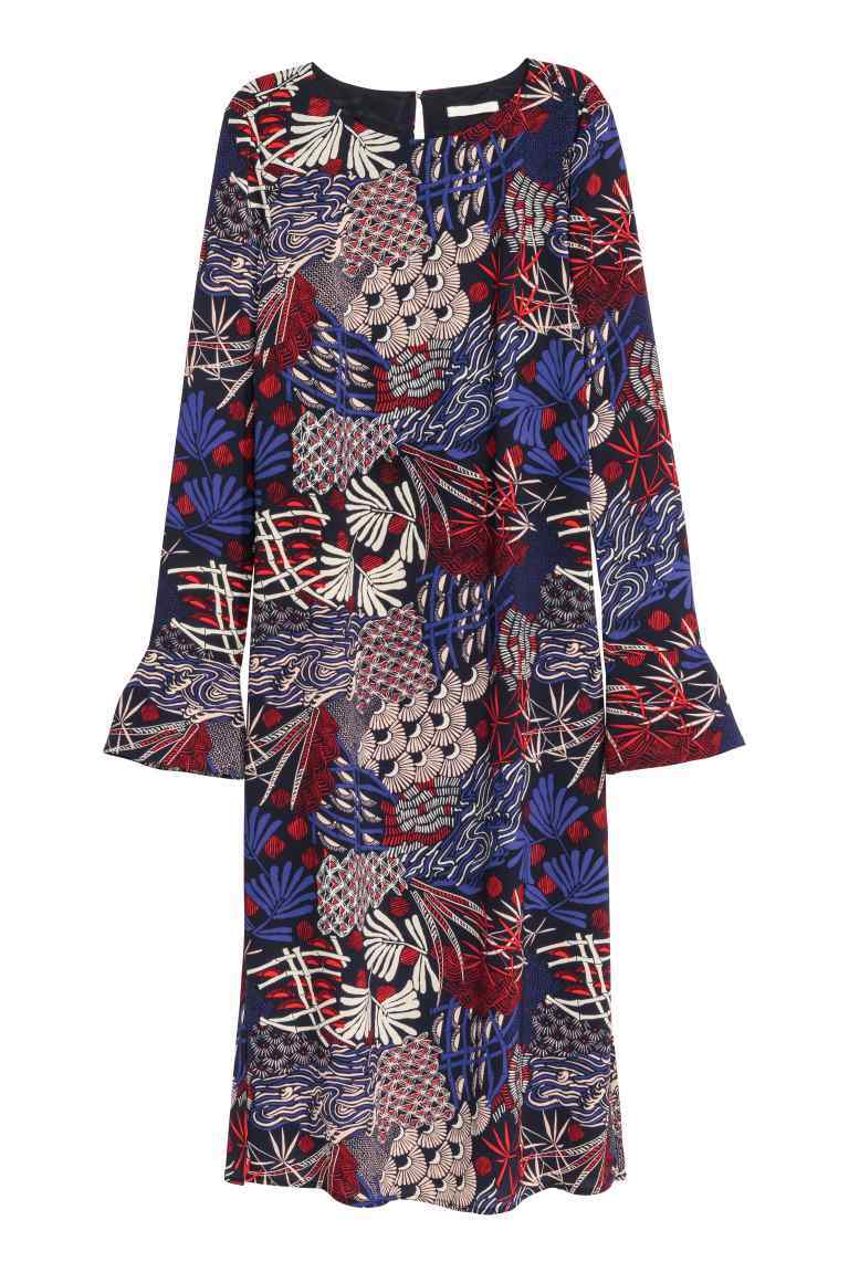 Crêpe Dress - style: shift; neckline: round neck; sleeve style: volant; secondary colour: burgundy; predominant colour: navy; length: just above the knee; fit: straight cut; fibres: polyester/polyamide - 100%; sleeve length: long sleeve; pattern type: fabric; pattern size: standard; pattern: patterned/print; texture group: woven light midweight; occasions: creative work; multicoloured: multicoloured; season: s/s 2016; wardrobe: highlight