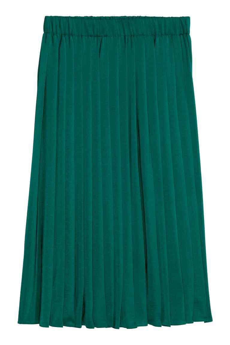 Pleated Skirt - pattern: plain; fit: loose/voluminous; style: pleated; waist: high rise; predominant colour: emerald green; length: just above the knee; fibres: polyester/polyamide - 100%; pattern type: fabric; texture group: jersey - stretchy/drapey; occasions: creative work; season: s/s 2016; wardrobe: highlight