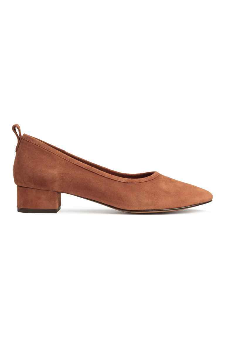 Suede Court Shoes - predominant colour: camel; occasions: casual; material: suede; heel height: mid; heel: block; toe: pointed toe; style: courts; finish: plain; pattern: plain; season: s/s 2016; wardrobe: investment